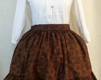 Brown Floral Lolita Skirt
