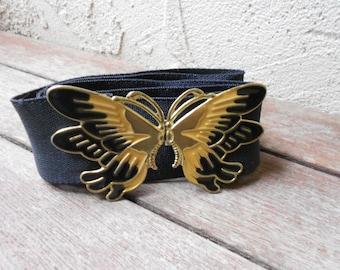 Vintage 80s Enamel Buckle Butterfly Belt