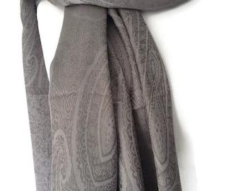 A Large Grey Scarf, Ladies Silver Grey Shawl, Gray Wedding Prom Bridesmaid Wrap, Cotton Blend Pashmina