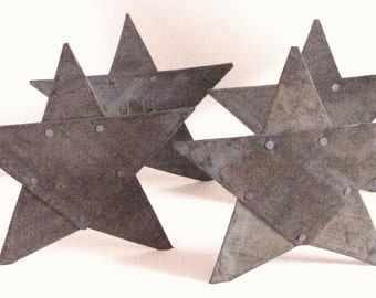 Set Of Four Vintage Metal Stars