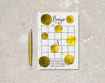 Baby Shower Bingo Game Printable, Baby Shower Games, Gold Bingo Card, Printable Bingo Game, Gold & Black Baby Shower Games, Digital File