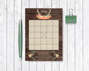 Baby shower Bingo Game Printable, Woodland baby Shower Game, Printable Bingo Card, Woodland Bingo, Rustic Bingo Game, Digital File