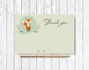 Thank You Card Printable, Fox Thank you Card, Baby Shower Thank you Card, Birthday Thank you Card, Printable Thank you Card, Digital File