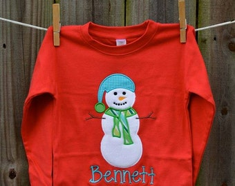 Snow Man Applique Shirt or Onesie Boy or Girl
