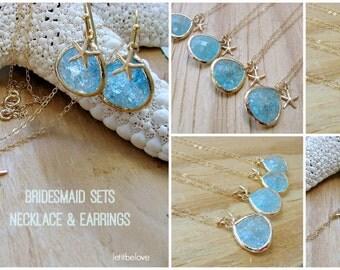 Aquamarine Necklace & Earrings Starfish Aquamarine Jewelry Starfish Earrings Aquamarine Gemstones March Birthstone 14k Gold Beach Wedding