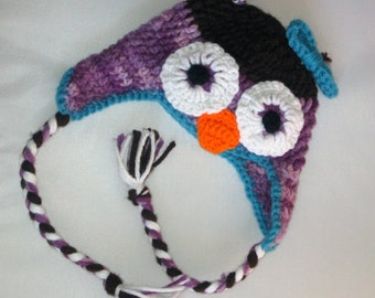 Crochet Purple and Teal Owl Hat  0-6 Month