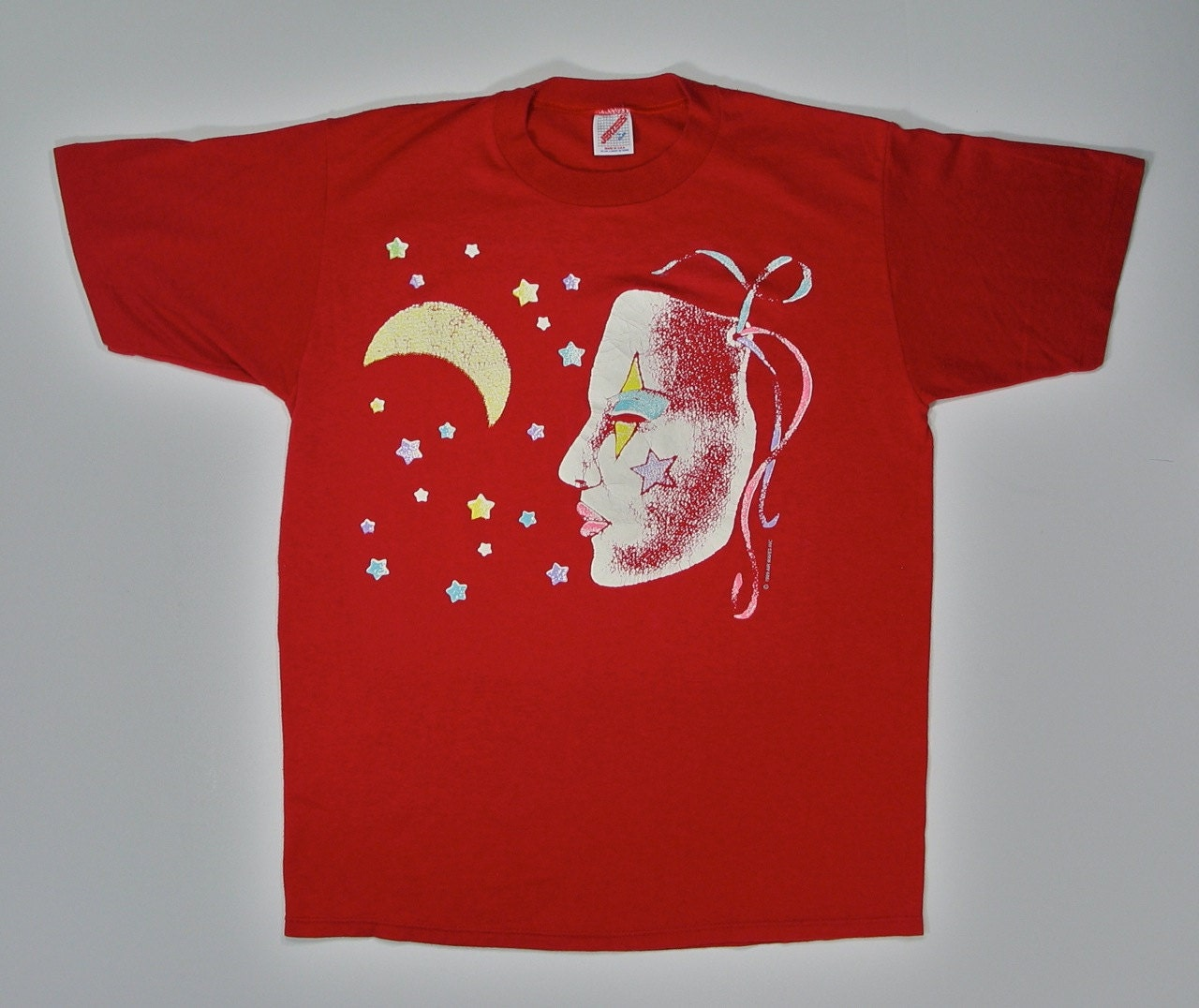 80s mask t shirt puff paint red tee harlequin moon stars m for Puffy paint shirt designs