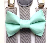 Light gray suspenders  + Mint Green Bow tie toddler kids boy boys Adult holidays photos family photoshoot