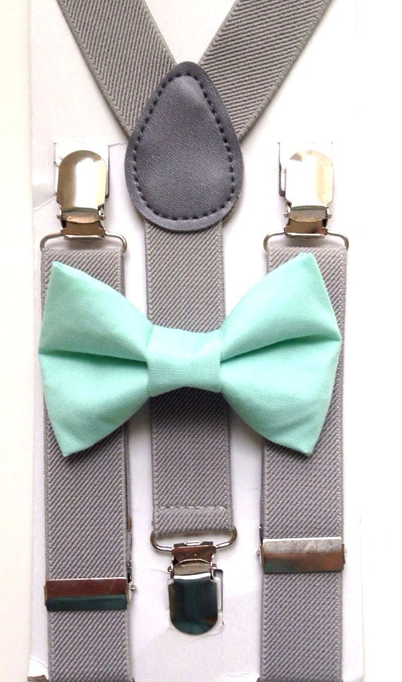 Light Gray Suspenders and Mint Bow Tie