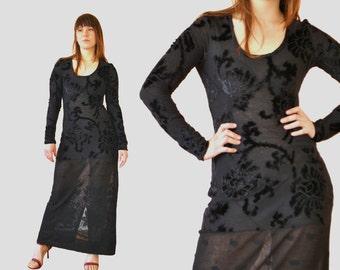 Vintage Burnout Velvet Maxi Dress / 1990s Long Black STUNNING Sheer Knit Floral Sleeve Tight Bodycon Dress