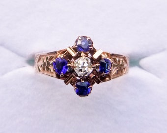Victorian 14k rose gold mine cut diamond and royal blue doublet paste cluster ring size 6.5