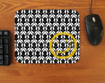 "SHERLOCK  ""Bored Smiley Wallpaper"" Rubber  Mouse Pad"