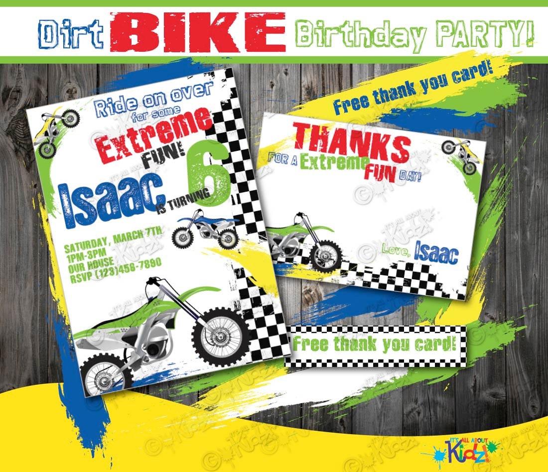 Dirt Bike Birthday Invitation Diy Dirt Bike Party Invitation