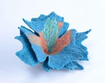 Sea blue nuno felt flower brooch - floral, wool and silk, felted, fiber art brooch [B72]