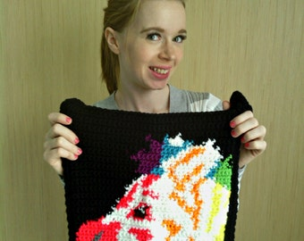 Crochet Black Rainbow Zebra Print Purse Tote Bag, Ready To Ship PA0003
