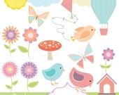 Spring CLIPART SET, flowers, butterflies, hot air balloon, sun, kite, clouds, birds, birdhouse. Printable Spring illustrations