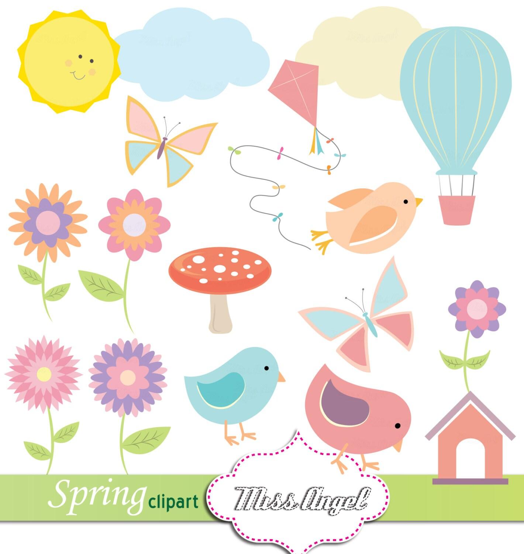 spring clip art illustrations flowers butterflies air
