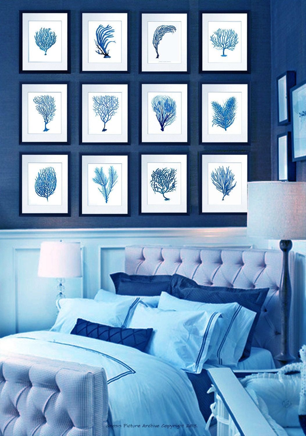 Vintage blue coral wall art sea fan coral prints set of 12 zoom amipublicfo Images