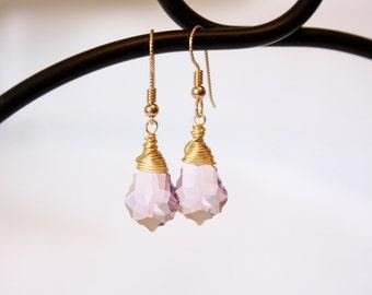 Light Amethyst Baroque Swarovski Crystal Gold Filled Drop Earrings
