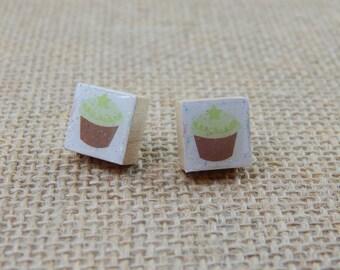 Petite Green Star Cupcake Scrabble Tile Post Earrings
