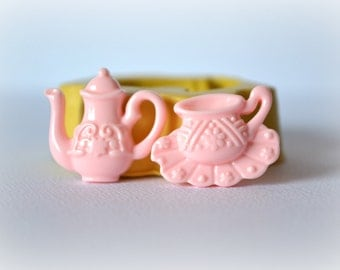0641 Teapot and Teacup and Saucer Silicone Rubber Flexible Food Safe Mold Mould-decoden,