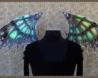 Adult Fairy Wings**Iridescent Black/Silver Fairy/Bat**FREE SHIPPING**Costume/Cosplay/Masquerade/Photography/Gothic/Halloween