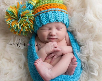 Handmade Crochet Stocking Cap Elf-Tail Hat / Newborn Baby Infant Toddler Photo Prop Shower Gift / Custom Colors Available / Boys or Girls