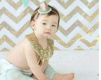 Mini Glittery Birthday Party Hat || Birthday, Cake Smash || 1st birthday  || Baby Birthday || Mint and Gold || Ready to Ship