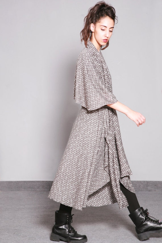 Cape .Pepita long Kimono. Maxi Knit sleeveless cotton cape in