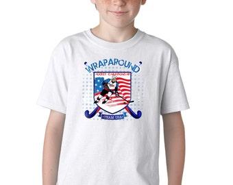 Kid's Hockey Wrap Around Team USA T-Shirt Boy's Ice Sports Skate Graphic Tee