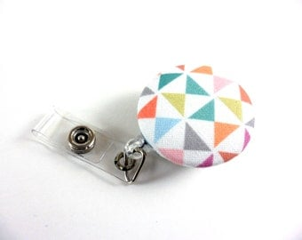 Pastel Triangles, Geometric ID Holder, Retractable Reel, Belt Clip, Gift For Nurse