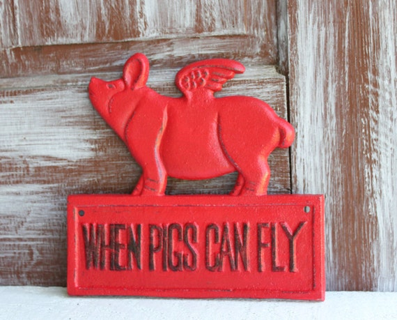 Flying pig cast iron red farmhouse kitchen decor by Pig kitchen decor