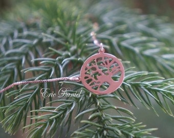 14k Rose Gold Tree of Life Necklace, Gold Family Tree Necklace, Handmade, Tree of Life, Family Necklace, Gold Tree of Life, Rose Tree