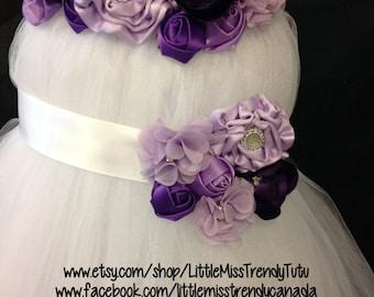 White Flower Girl Tutu Dress with Purple Handmand flowers with matching tutu dress belt and headband, Flower Girl Tutu Dress 3 pc Set