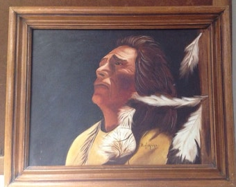 Vintage Native American Indian oil painting Chief Sitting Bull By -D Lunceford