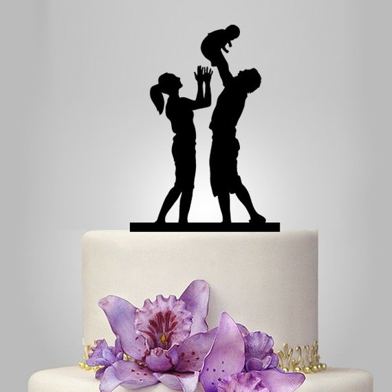 family silhouette wedding cake toppers acrylic wedding cake topper family topper baby cake by 14183