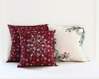 Christmas Cushion set, 3 pillow set, hand embroidered pillow, Seasonal decor, Christmas pillow cover, handmade in the UK