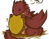 Chibi Smaug the Dragon The Hobbit fanart print