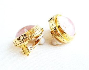 Vintage CHANEL Gripoix Pink Poured Glass Earrings