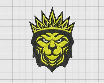 Lion with Crown Embroidery Design in 3x3 4x4 and 5x5 Sizes