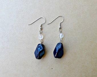 Navy Blue Stone Earrings, Dark Blue Dangle Earrings, Blue Beaded Earrings, Dark Blue Jewelry