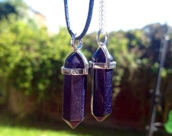 SPARKLY Blue sandstone Necklace - sandstone Choker - crystal choker - boho necklace - bohemian necklace nebula choker galaxy choker