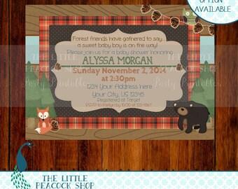 Woodland- Forest Friends Baby Shower or Birthday Digital Printable invitation!