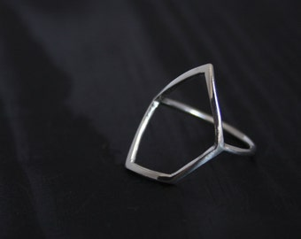 Geometric Minimal Sterling Silver Statement Ring