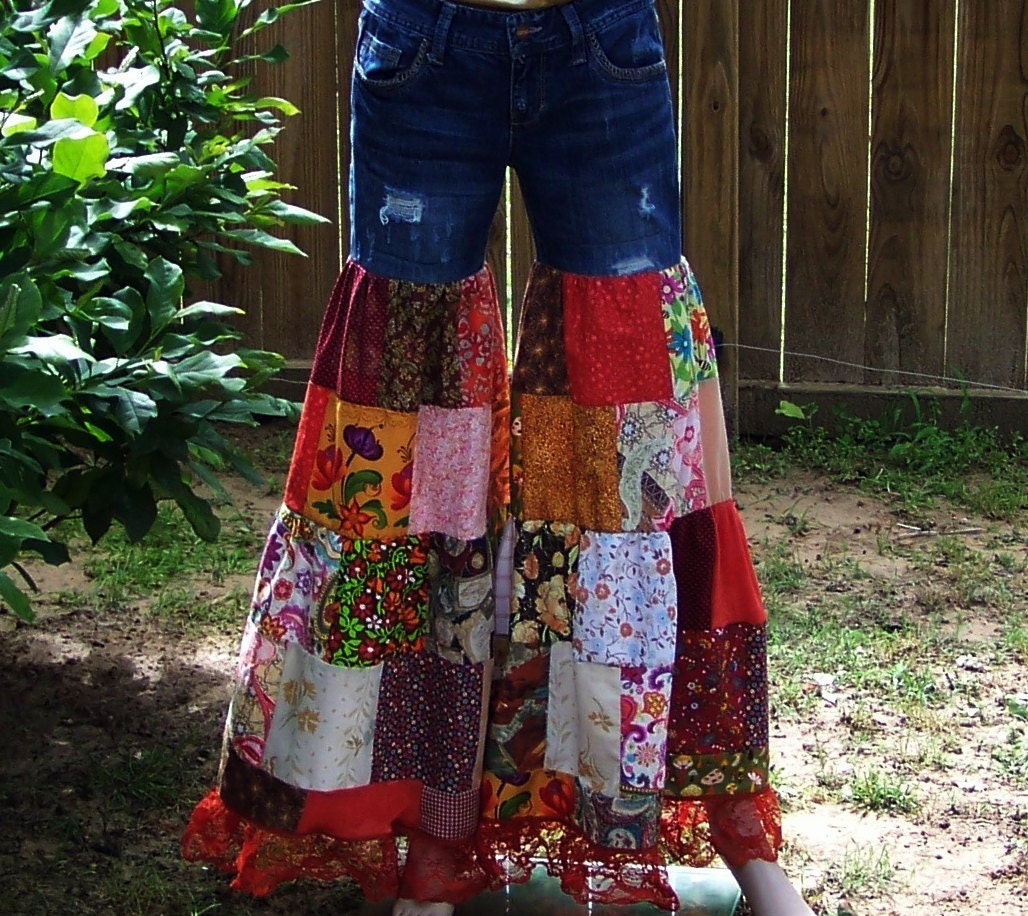 Patchwork Pants Bell Bottoms Bell Bottom Jeans Patchwork Jeans