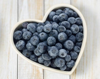 Romantic foodie gift. Blueberry Heart photography print.
