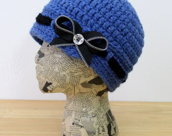 Denim Blue Crocheted Cap with Black Band and Zipper Bow