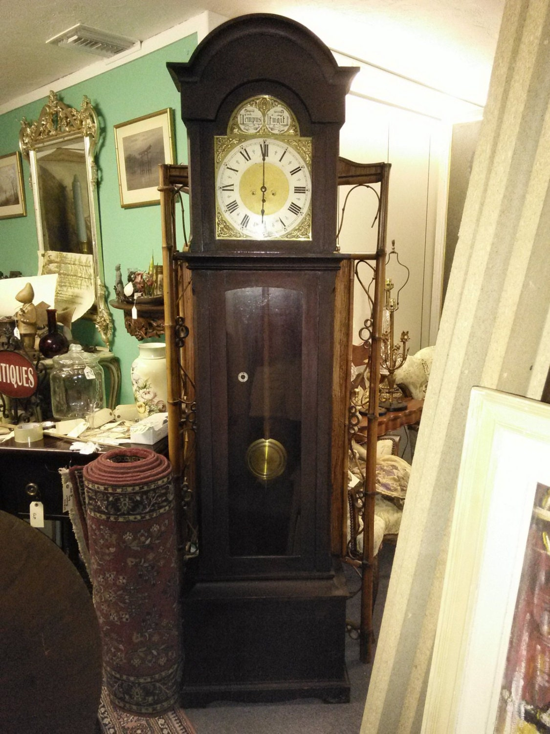 Antique old junghans grandfather clock brass face tempus fugit zoom amipublicfo Image collections