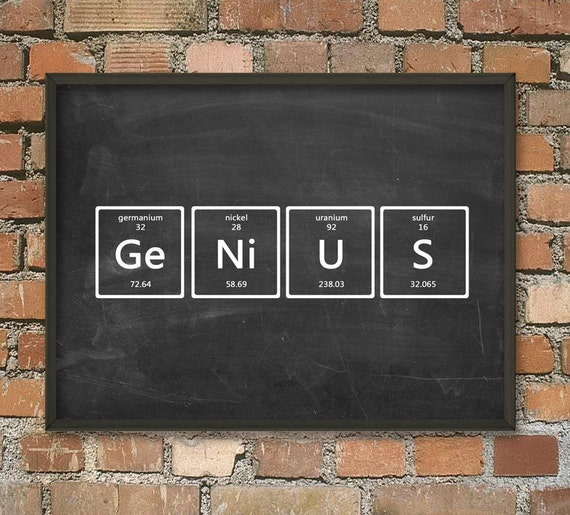 genius wall art poster periodic table of elements art. Black Bedroom Furniture Sets. Home Design Ideas