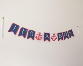 It's a Boy Nautical Baby Shower Banner - Nautical Baby Shower - Nautical Banner - Baby Shower Banner